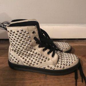 Dr. Martens Shorestud studded white canvas shoes